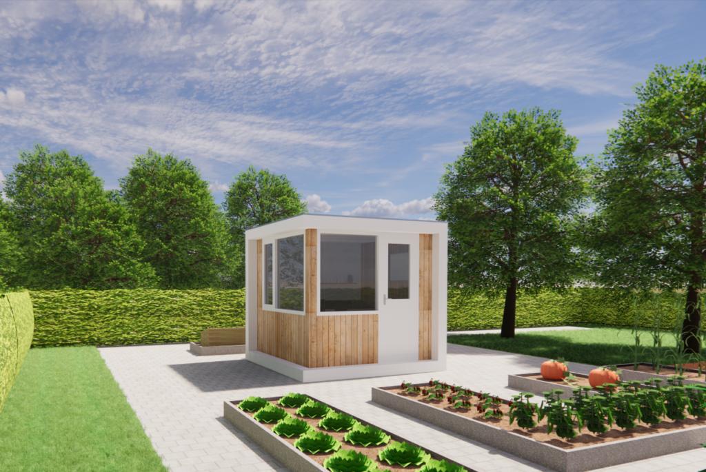 Thuiskantoor in tuin