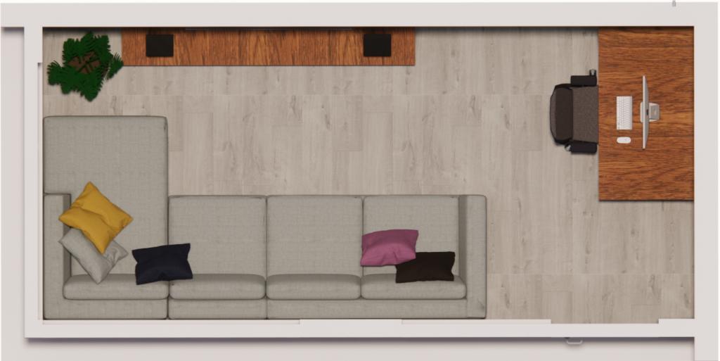 loungebank in thuiskantoor